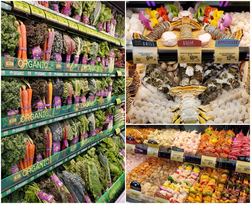 safeway store 3 photo collage of produce seafood case and meat counter square