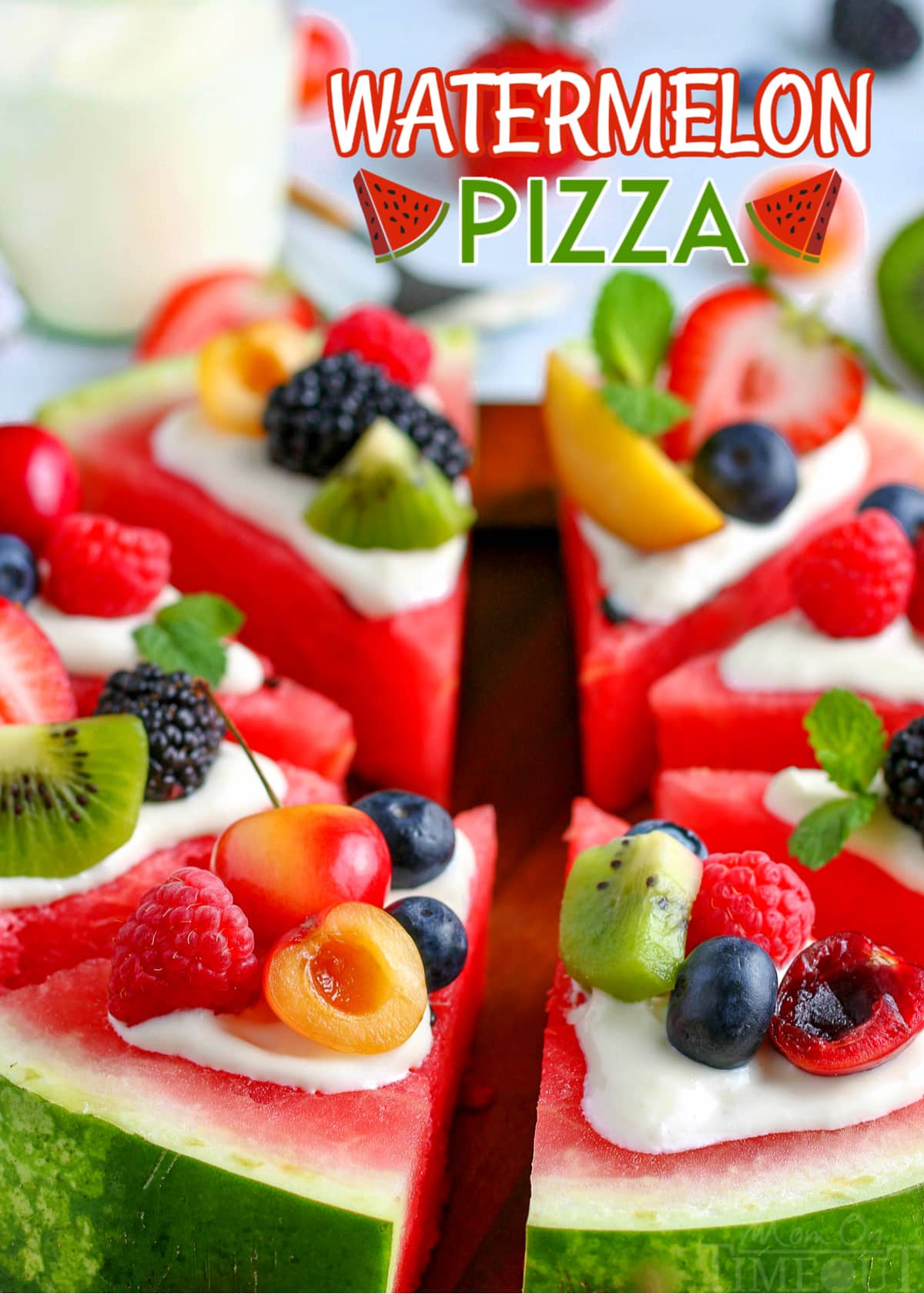 watermelon pizza topped with cream cheese frosting and fresh fruit with text overlay