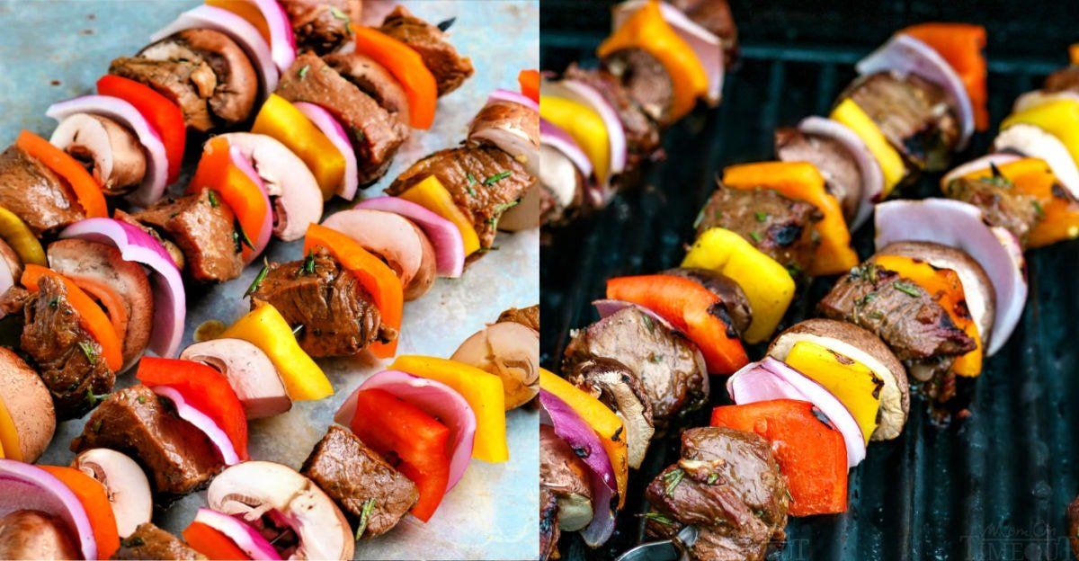 2 image collage of steak kabobs ready to be grilled and on the grill