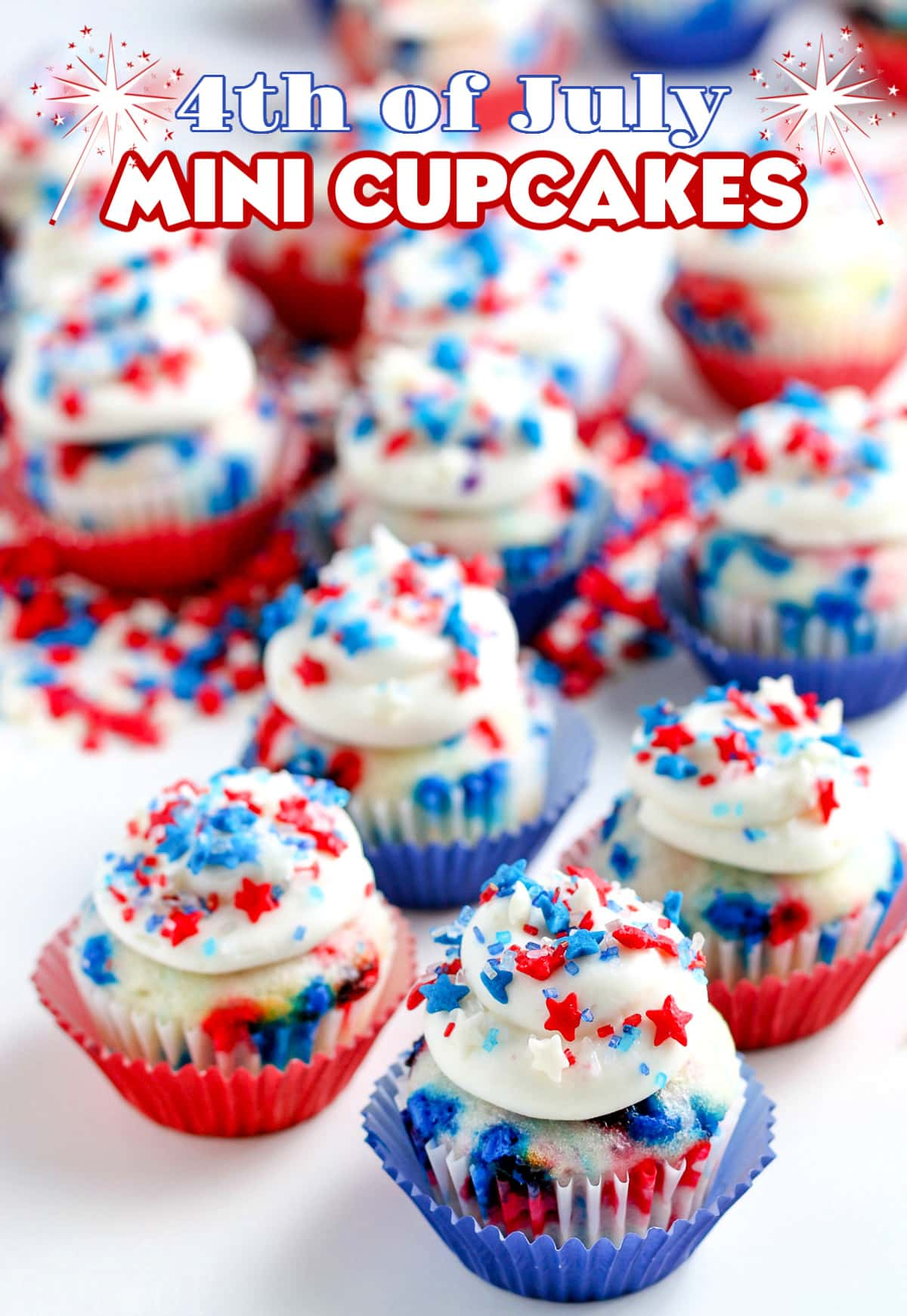 4th of July Mini Cupcakes with star sprinkles and text overlay