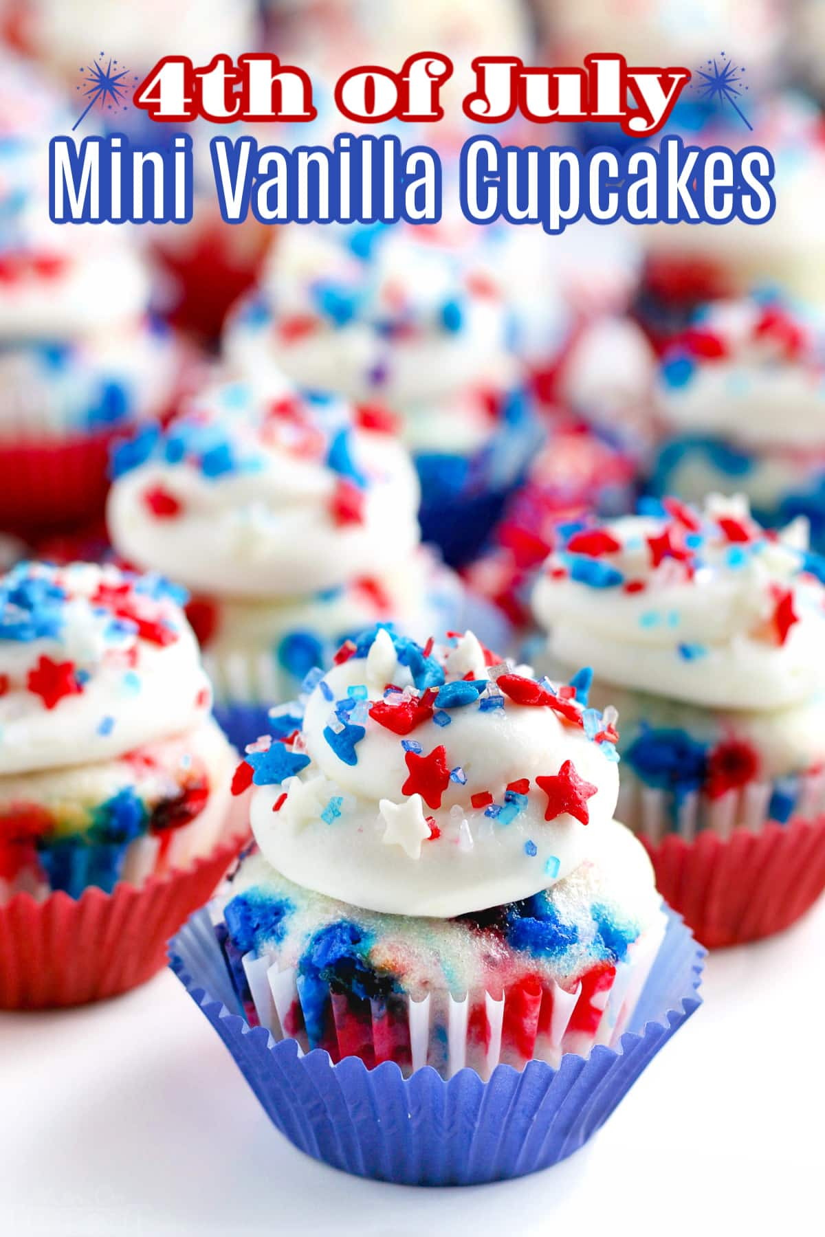 close up of 4th of July Mini vanilla Cupcakes with star sprinkles and text overlay