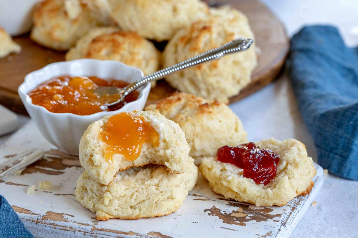 drop biscuits on white board with jelly on them