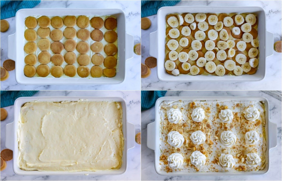 final steps of assembling the banana pudding presented in a four image collage