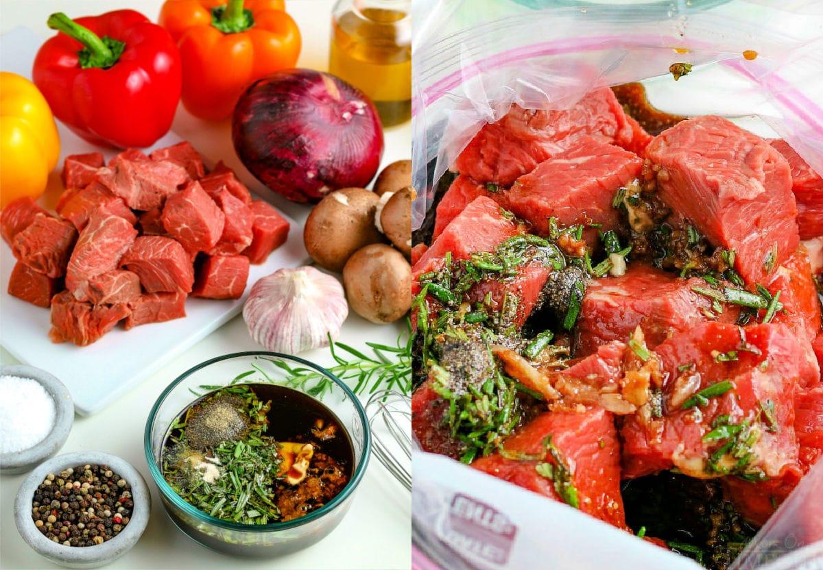 steak kabob ingredients and beef kabob marinade in bag