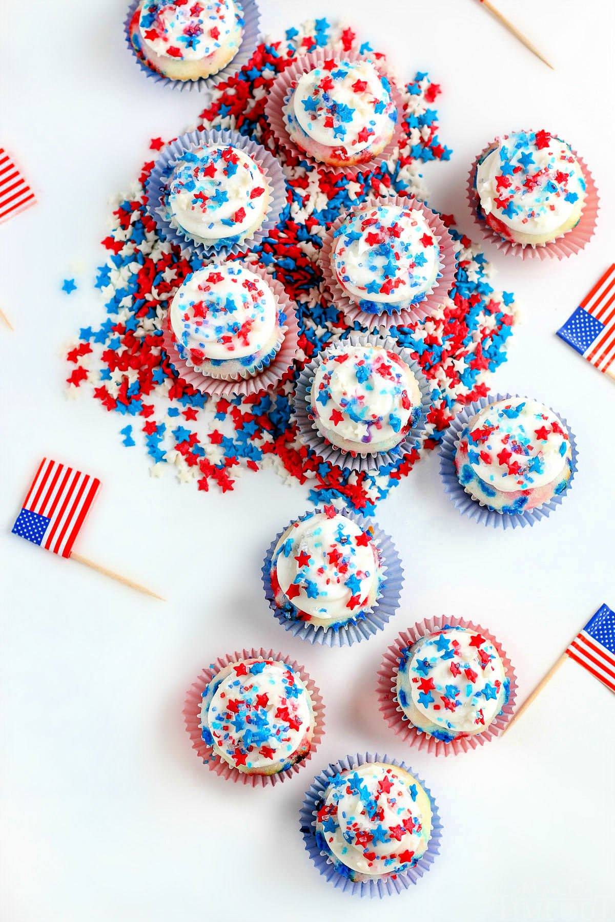top down view of mini cupcakes decorated for 4th of july