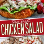 2 image chicken salad collage with sandwich on top and ingredients in bowl on the bottom