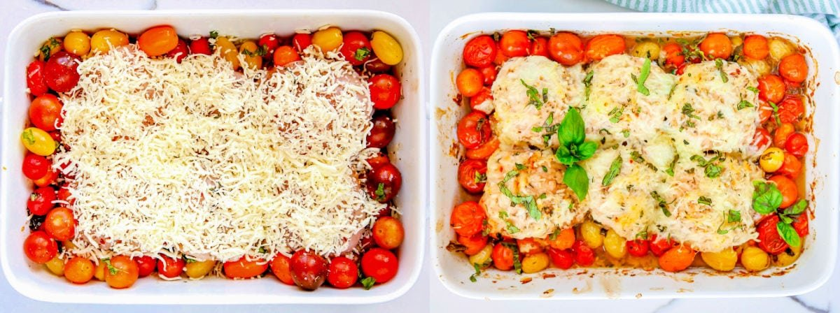 2 image collage cheese on top of chicken and tomatoes on left and baked chicken on right