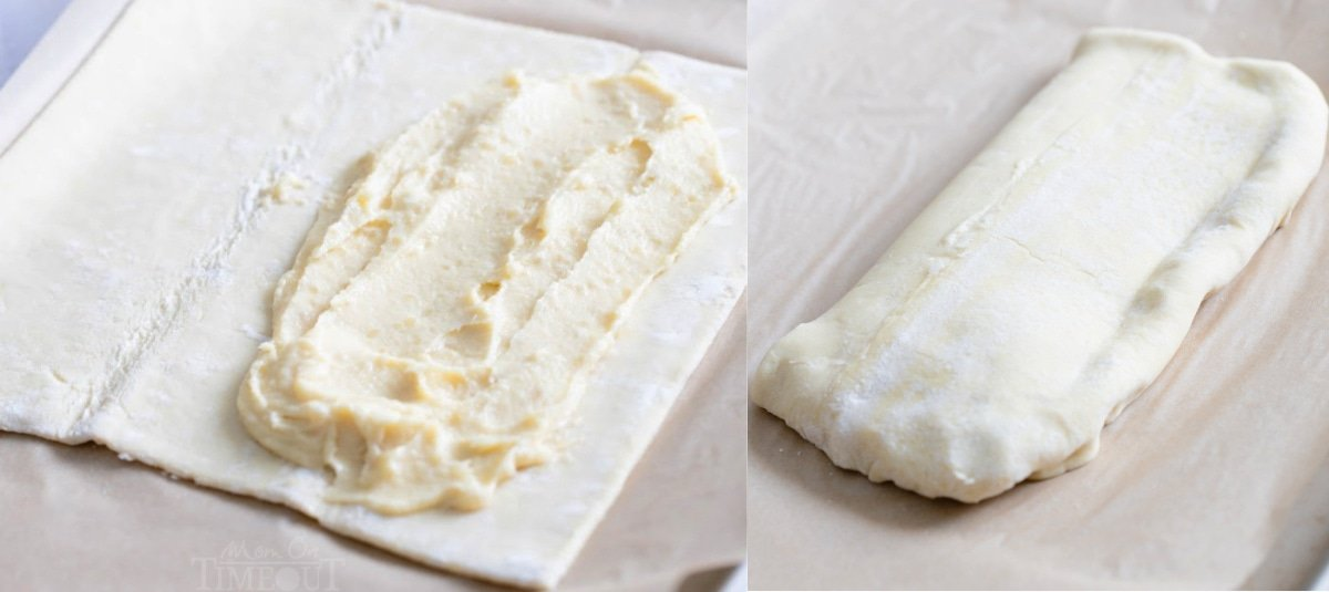 2 image collage of almond filling being spread on pastry and then the pastry folded over