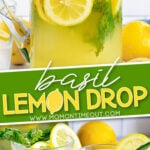 2 image collage with text overlay of basil lemon drop with top image the pitcher and the bottom image 2 glasses filled