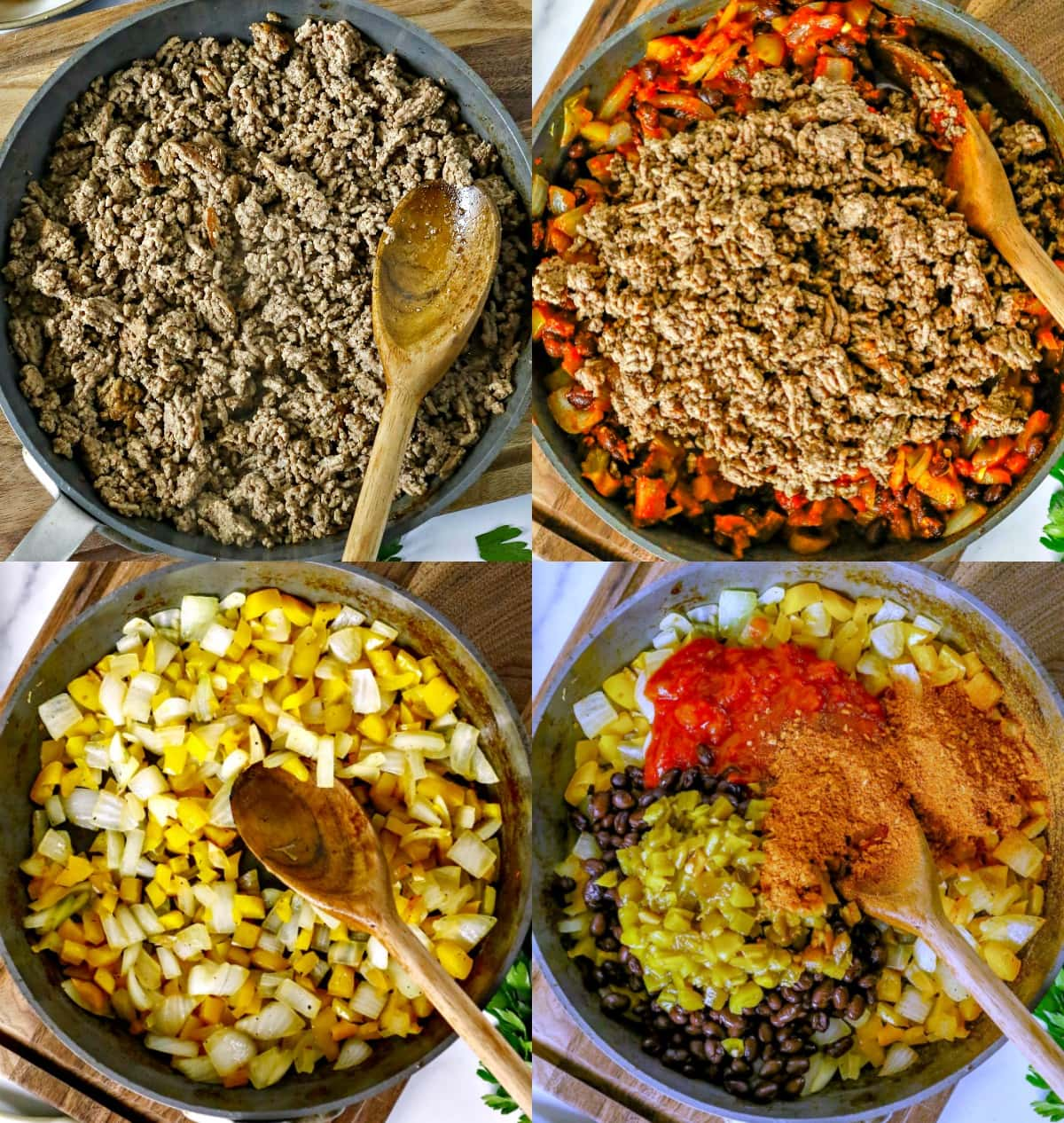 4 image collage of process of cooking ingredients in skillet for casserole