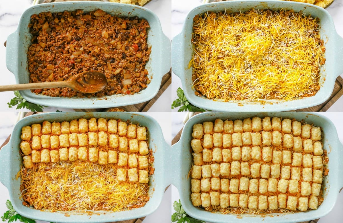 assembly of tater tot casserole in baking dish in 4 image collage