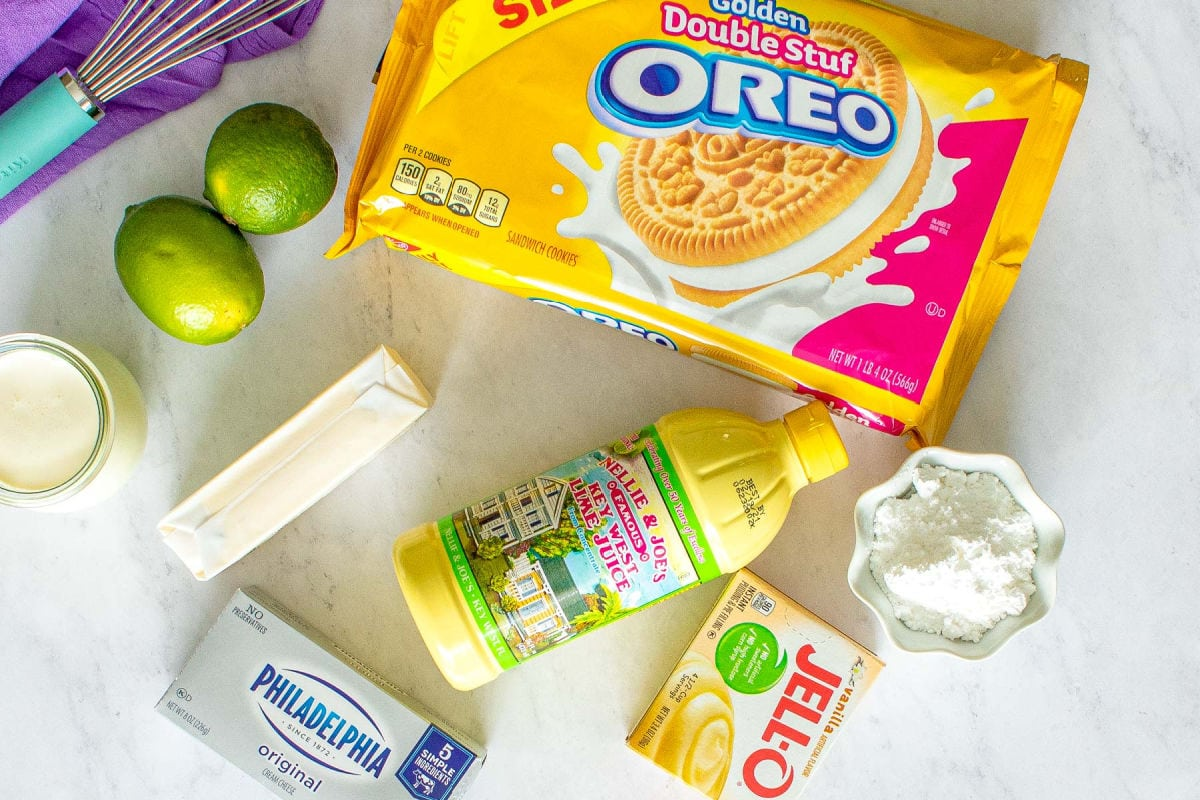 key lime lush recipe ingredients layed out on marble surface