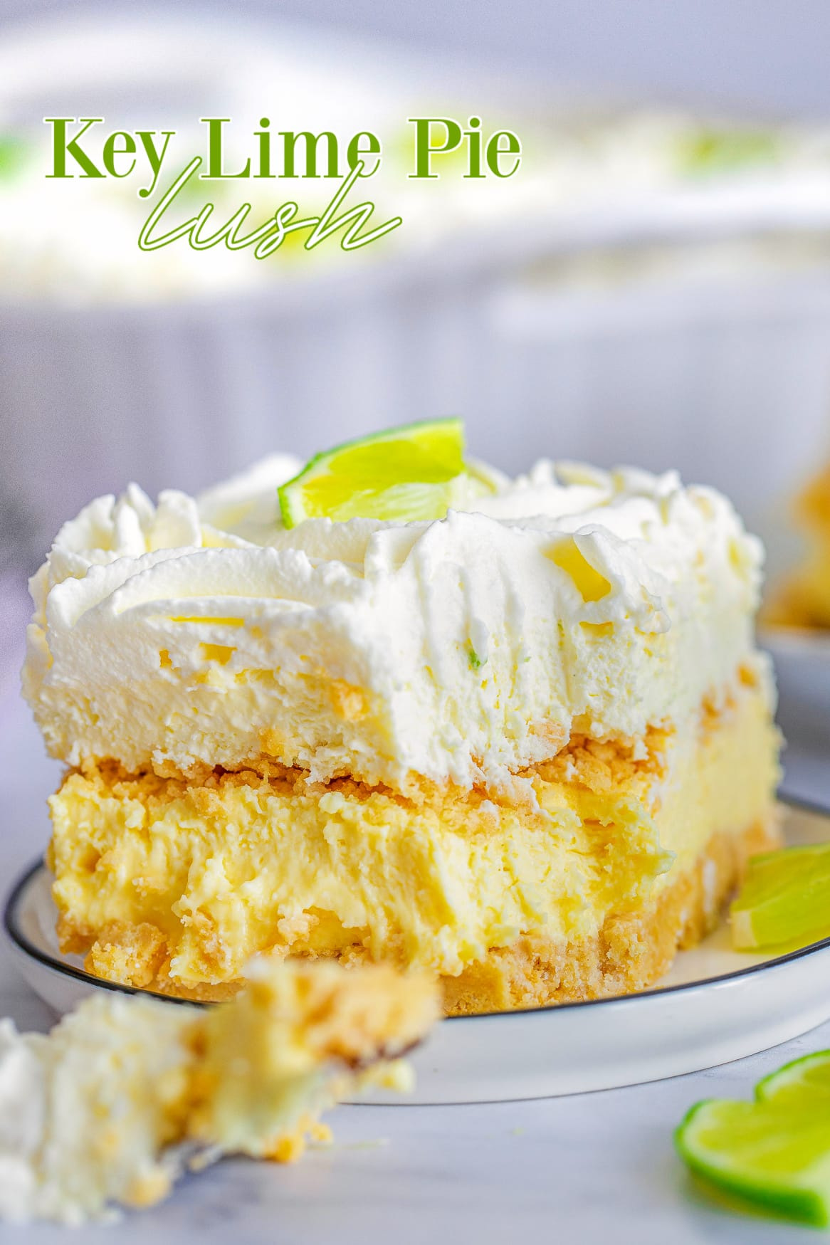 key lime pie lush recipe on plate with bite taken and text overlay