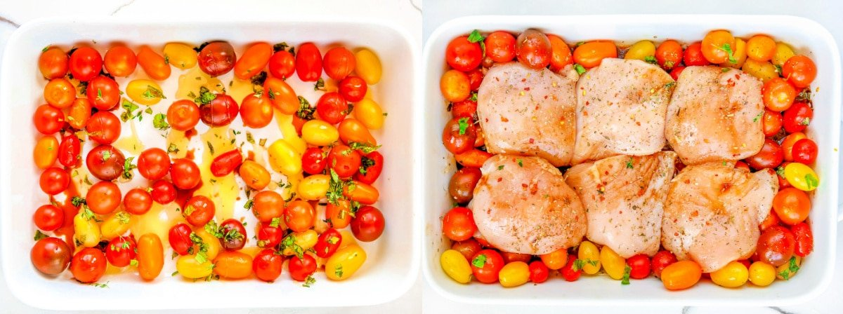 tomatoes in dish on left side and chicken breasts added to dish on right side