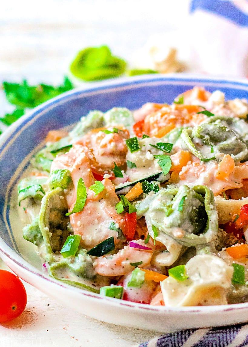tortellini pasta salad recipe in white bowl