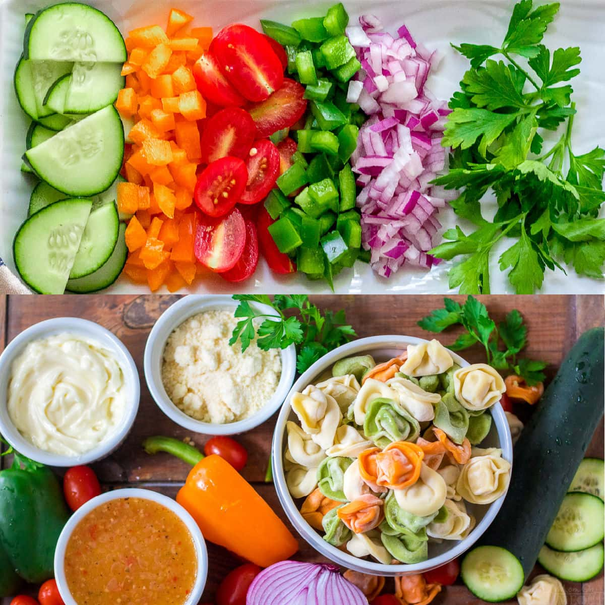 veggies for pasta salad and all other ingredients