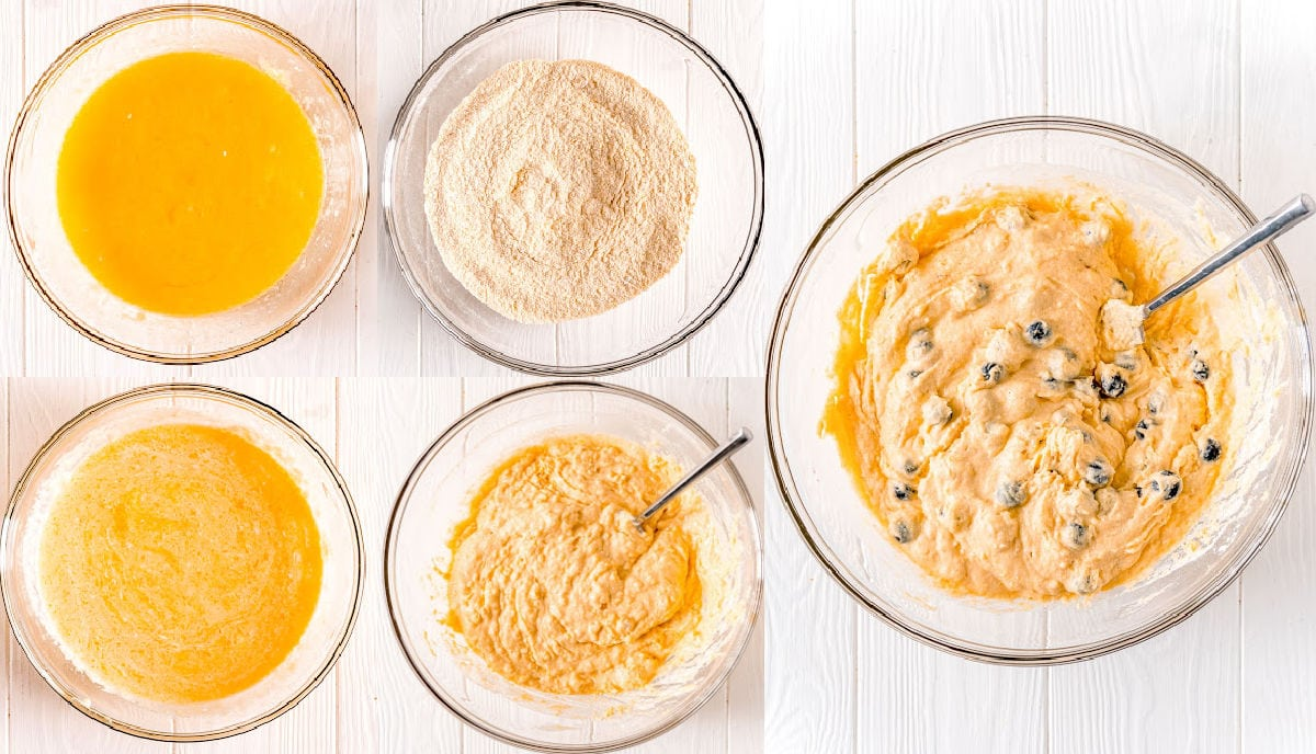 blueberry corn muffins batter being gradually mixed together in a 5 image collage