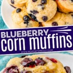 blueberry corn muffins recipe 2 image collage plate of muffins on top and split muffin with butter on bottom center text overlay