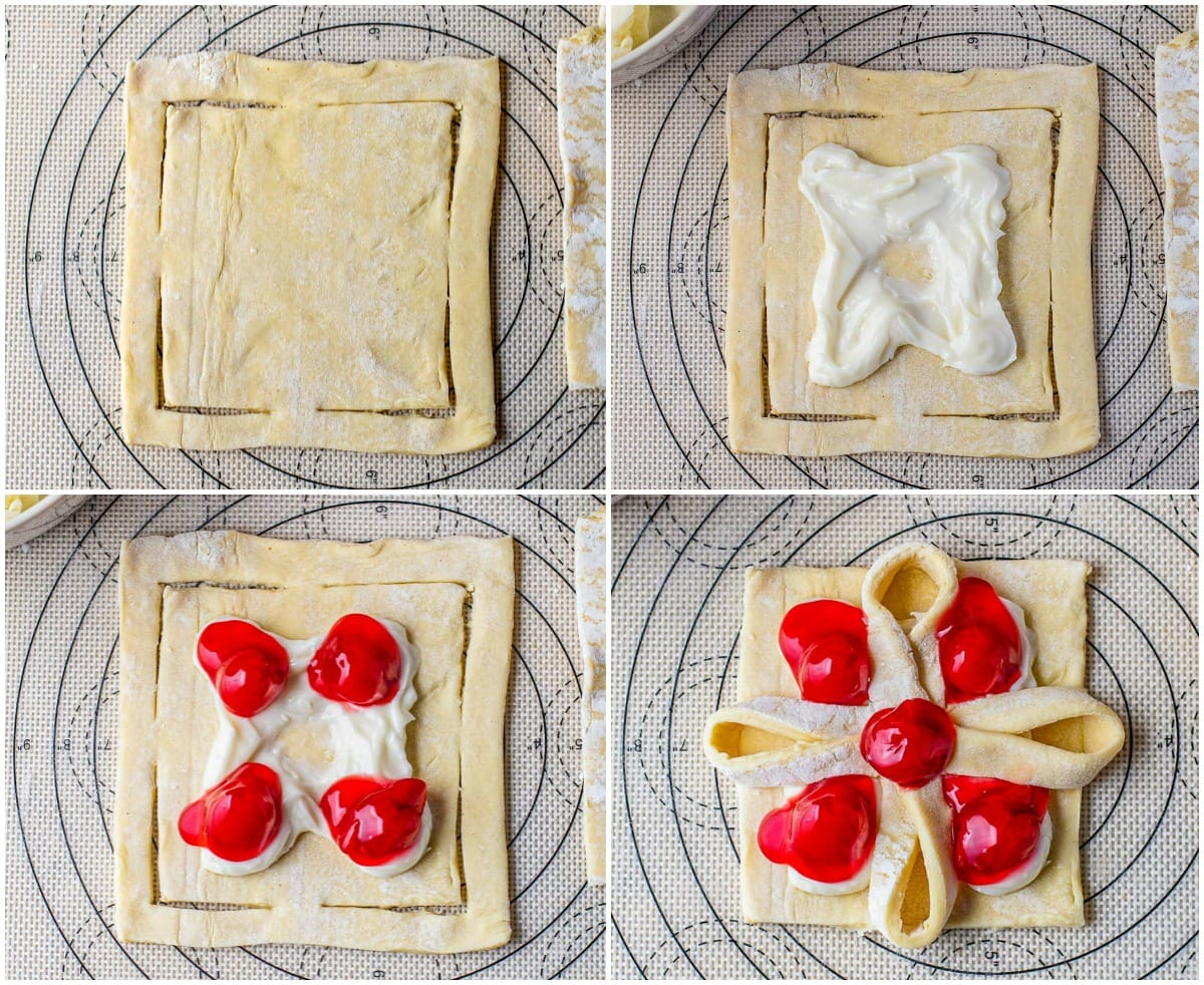 cherry cheese danish 4 image collage of how to cut and fold the danish