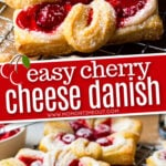 2 image collage of cherry cheese danish recipe single danish on top and cooling rack with danishes on it on the bottom image with center text overlay