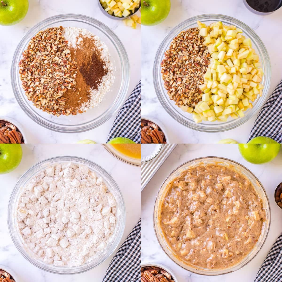 4 image collage of mixing apple muffin recipe batter together in glass bowl