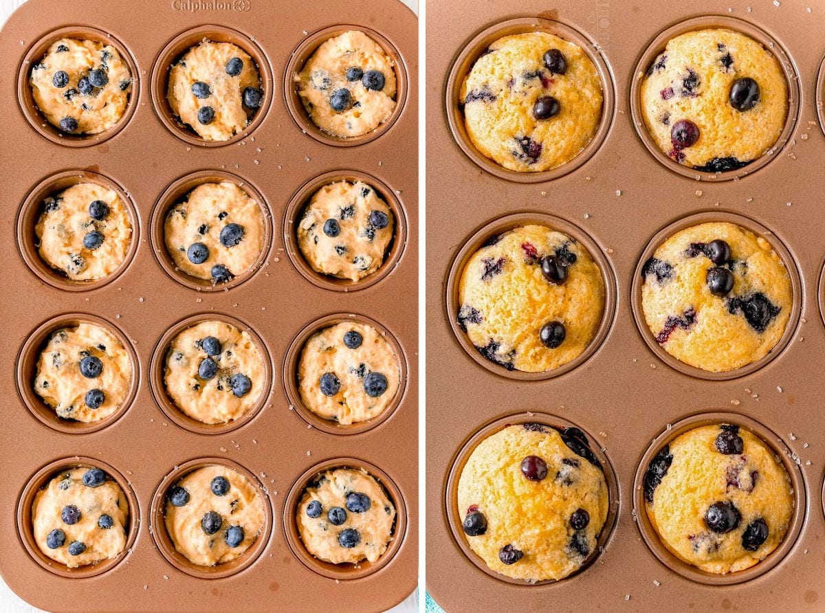 corn muffins in muffin pan left side shows the batter and the right shows 6 muffins baked