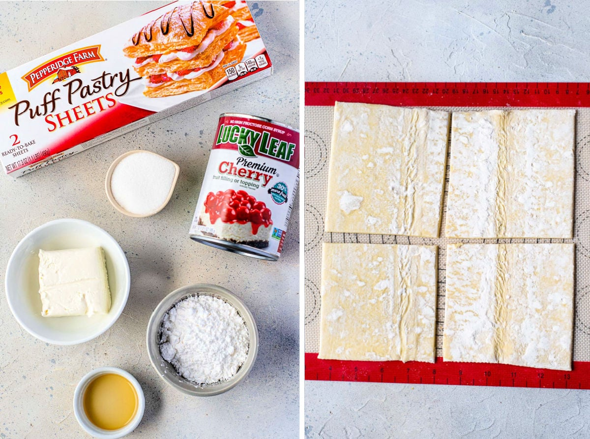 2 image collage with danish ingredients on left side and puff pastry cut out on right side