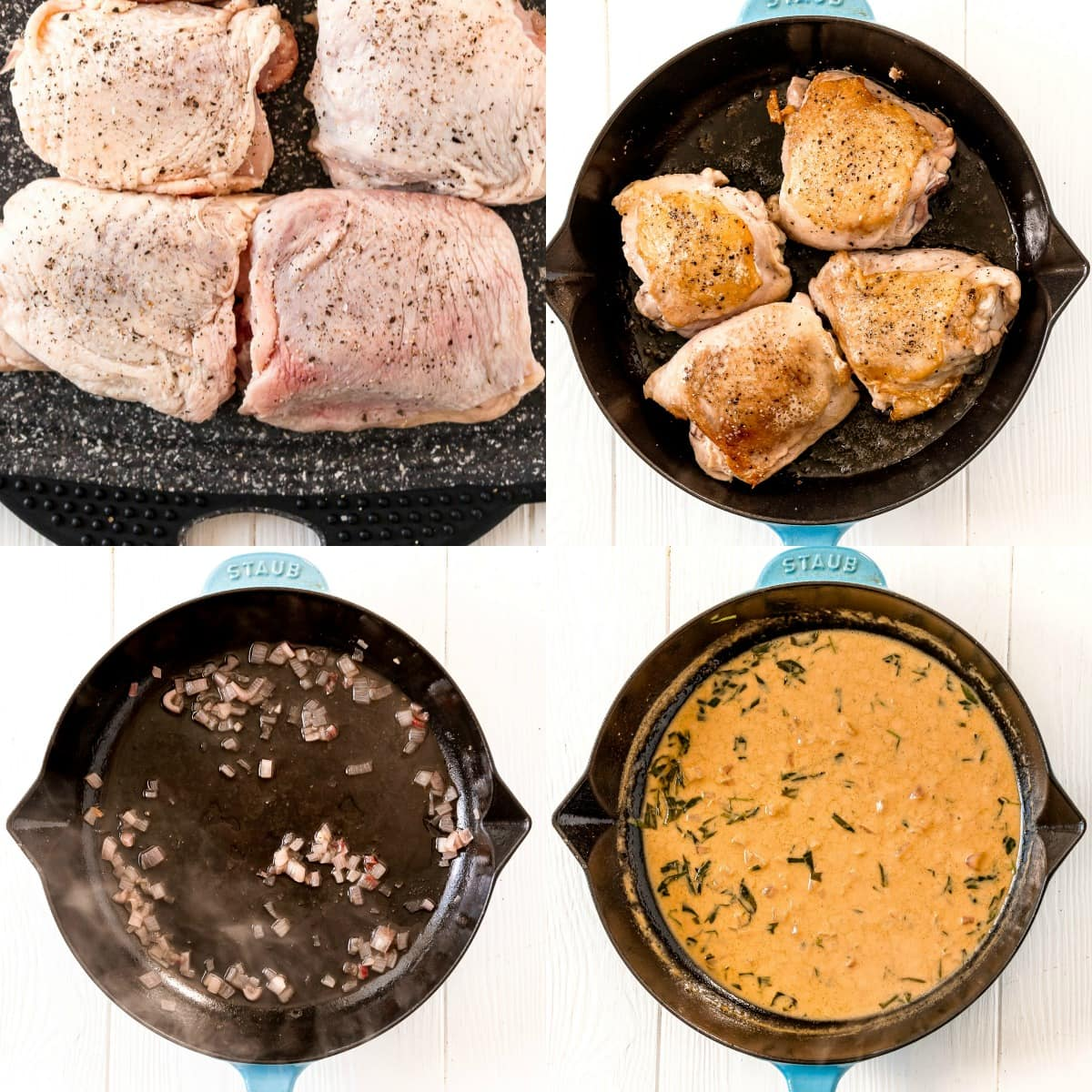 four image collage of chicken thighs seasoned and then seared and the sauce being made in the same skillet