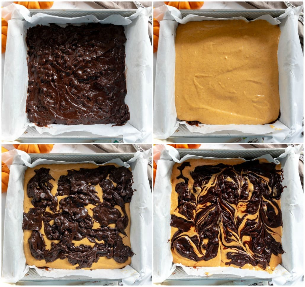 how to make pumpkin brownies 4 image collage with brownie layer, cheesecake layer, more brownie batter and then the top swirled