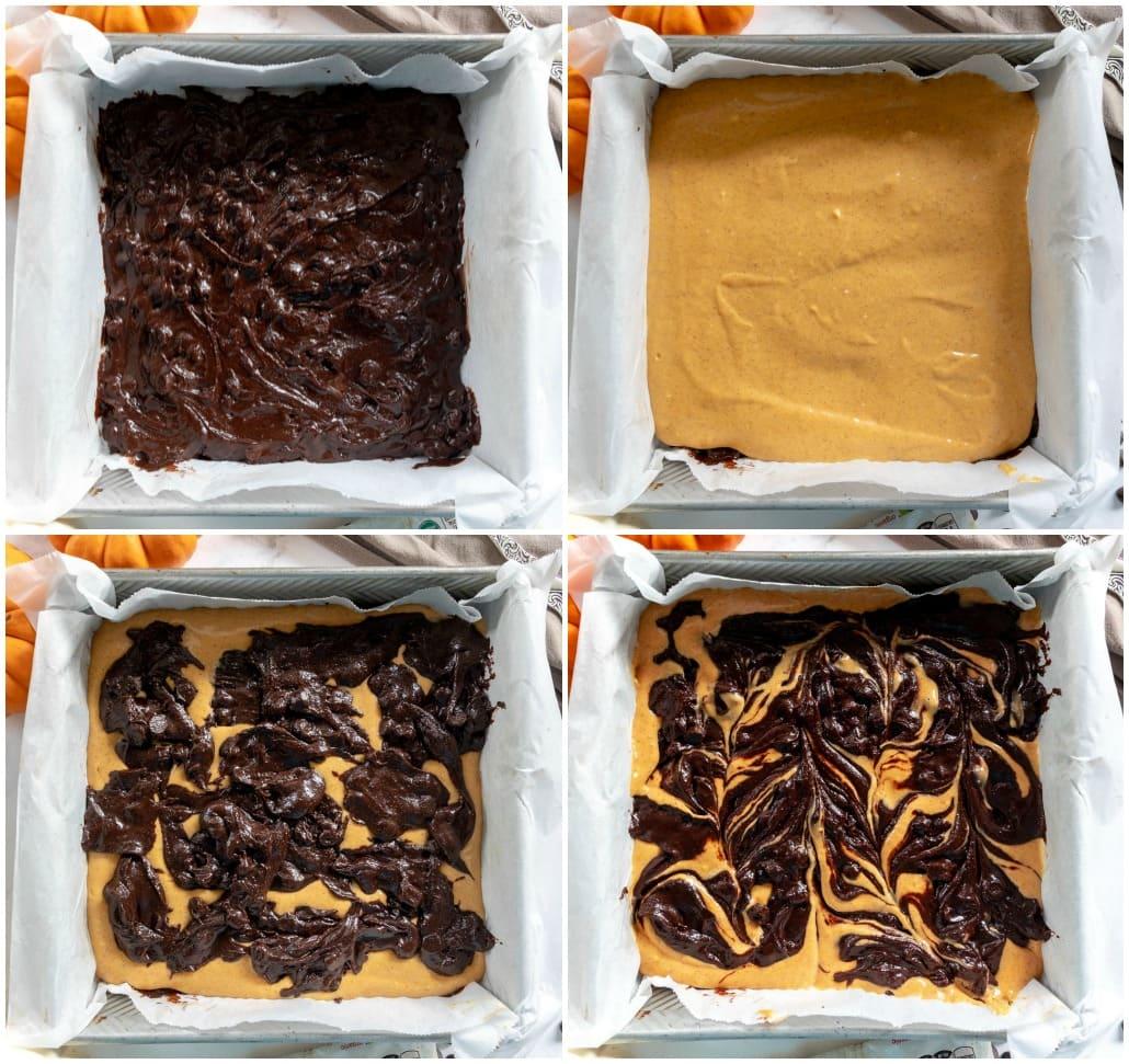 cómo hacer brownies de calabaza 4 collage de imágenes con la capa de brownie, la capa de tarta de queso, más masa de brownie y luego la parte superior arremolinada