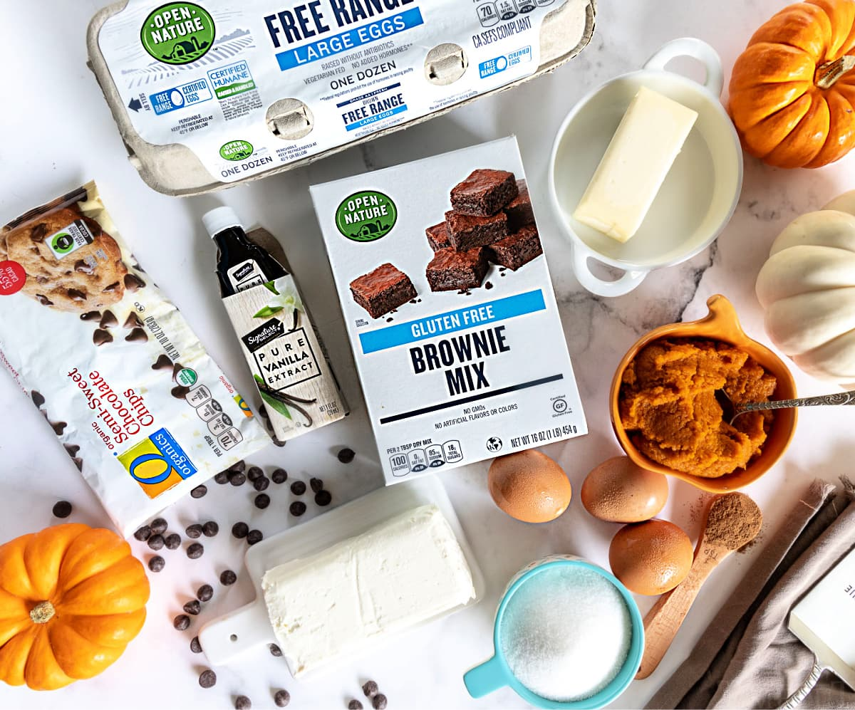 top down view of pumpkin brownies ingredients laid out on marble surface