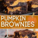 Collage de 2 imágenes de brownies de calabaza apilados a 4 alturas en arriba y en un pequeño bol naranja en la imagen inferior con texto superpuesto en el centro