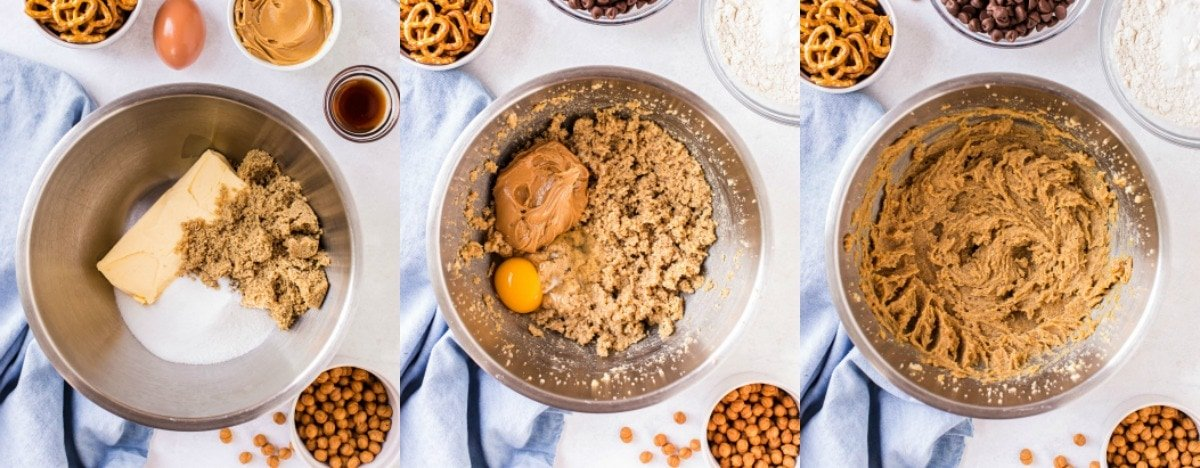 three image collage of cookie dough ingredients being mixed together in metal bowl