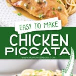2 image collage of chicken piccata recipe with centered text overlay