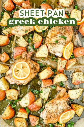 greek chicken prepared on sheet pan with lemons potatoes and parsley as well as a title overlay at top of image
