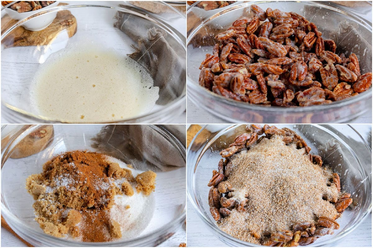 how to make candied pecans 4 image collage showing step by step