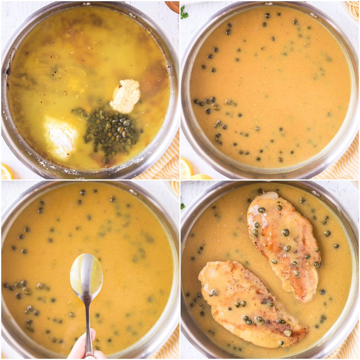 how to make chicken piccata sauce in 4 image collage
