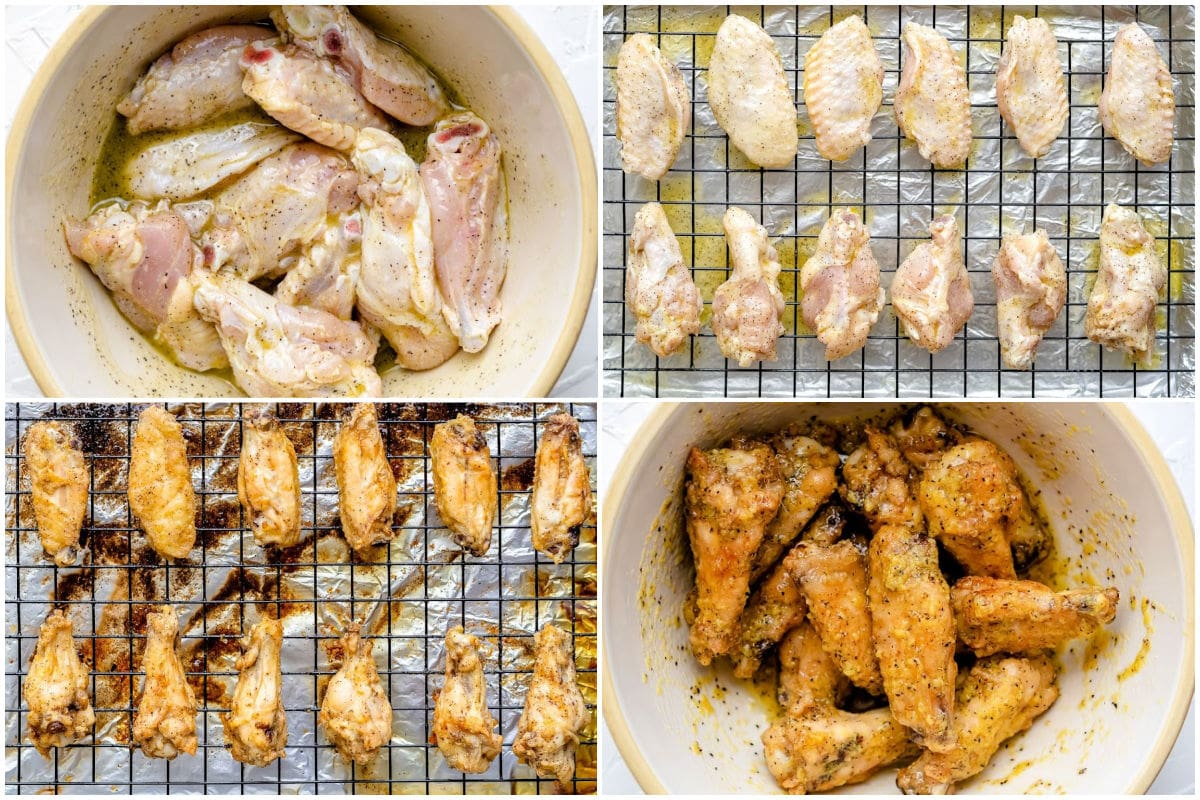 how to make lemon pepper wings in 4 image collage