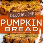 2 image collage of pumpkin bread sliced and stacked with center color bock and text overlay