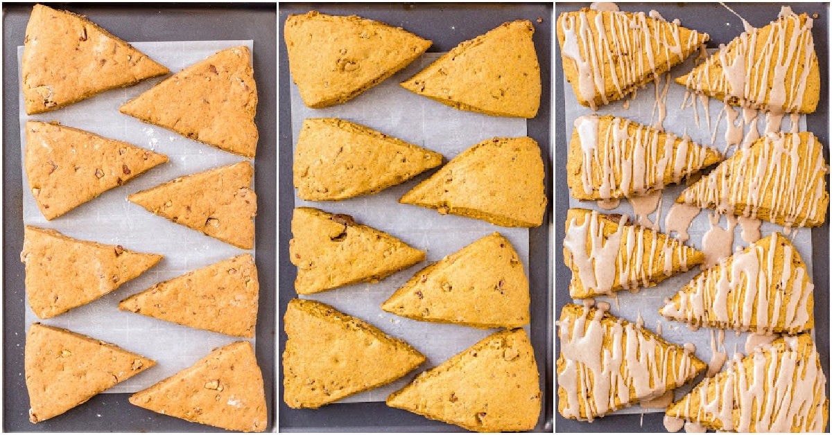 three image collage of scones about to be baked baked and then with the maple glaze