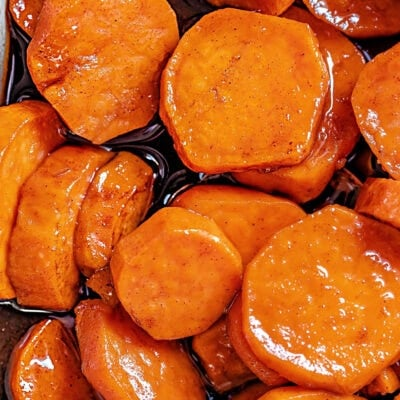 close up of candied yams in baking dish top down view