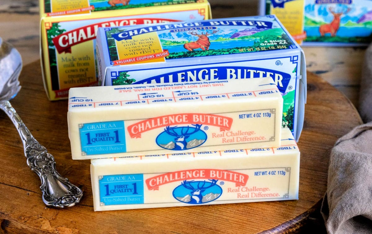 sticks of challenge butter on board