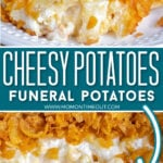 2 image collage of cheesy potatoes plated and in casserole dish with center color block and text overlay