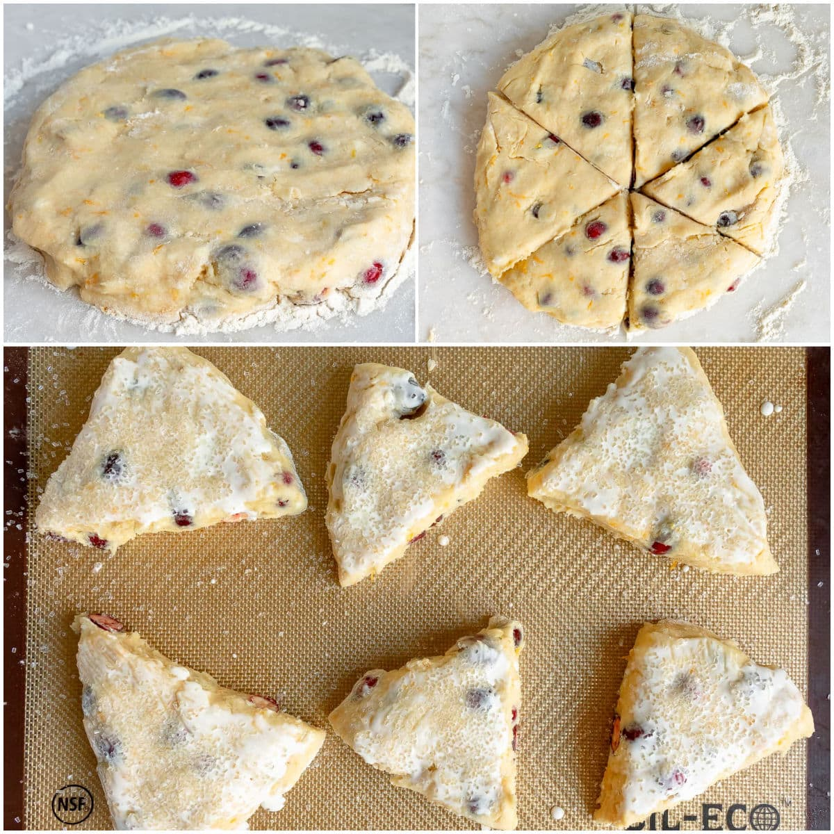 how to make cranberry orange scones with a three image collage showing scones being cut and place on baking sheet