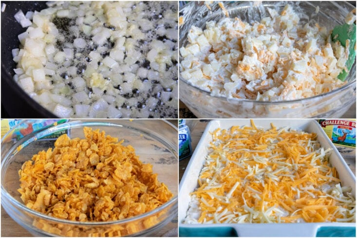 4 image collage showing how to make and assemble funeral potatoes