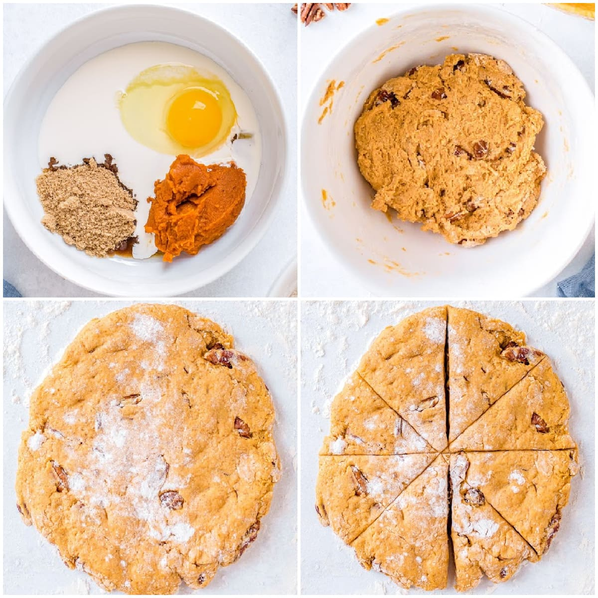 4 image collage showing pumpkin scones being made and cut out