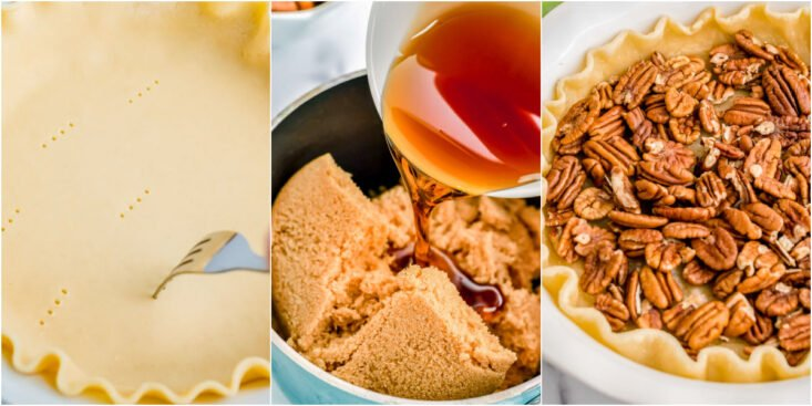 three image collage showing pie crust being poked syrup being made and pecans on top of the crust