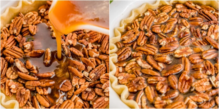 two image collage of pecan pie having syrup poured over pecans and finished pie ready to bake