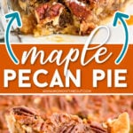 2 image collage with center color block top image showing piece of pecan pie plated with ice cream on top and bottom image of slice of pie on pie server