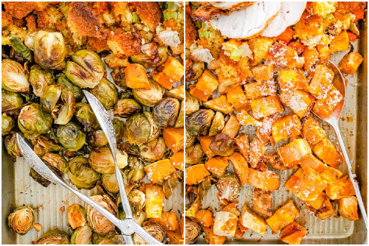 roasted brussels sprouts roasted sweet potatoes collage on sheet pan